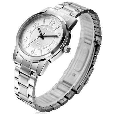 Lagmeey 6985 Business Quartz Watch Round Dial Stainless Steel Body for Men