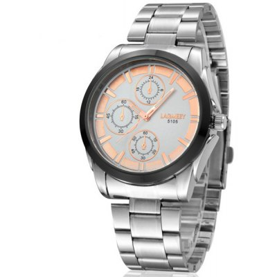 Lagmeey 5105 Stainless Steel Body Wristwatch Quartz Watch Round Dial for Men