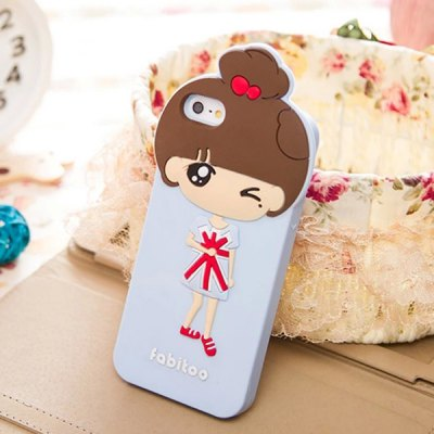 Гаджет   Fabitoo Xiaoxi Winked Pattern Silicone Back Cover Case for iPhone 5 5S iPhone Cases/Covers
