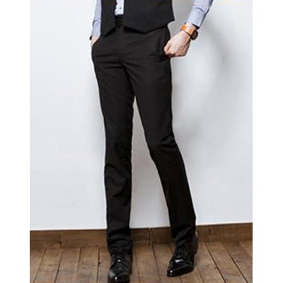 Гаджет   Slimming Stylish Solid Color Button Design Straight Leg Polyester Pants For Men Pants