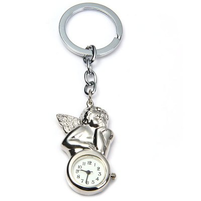 Novel Cupid Design Quartz Pocket Watch with Key Chain Round Dial Collection Gift