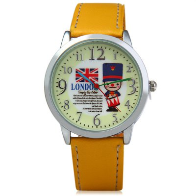 Novel Women Quartz Watch London Soldiers Style Analog Round Dial Leather Watch Band with Key RingWomens Watches<br>Novel Women Quartz Watch London Soldiers Style Analog Round Dial Leather Watch Band with Key Ring<br><br>Watches categories: Female table<br>Available color: White, Blue, Brown, Yellow<br>Style : Fashion&amp;Casual<br>Movement type: Quartz watch<br>Shape of the dial: Round<br>Display type: Analog<br>Case material: Stainless steel<br>Band material: Leather<br>Clasp type: Pin buckle<br>Water Resistance : Life water resistant<br>The dial thickness: 0.8 cm / 0.3 inch<br>The dial diameter: 3.7 cm / 1.5 inch<br>The band width: 1.8 cm / 0.7 inch<br>Product weight: 0.028 kg<br>Package weight: 0.100 kg<br>Product size (L x W x H) : 23 x 3.9 x 0.8 cm / 9.04 x 1.53 x 0.31 inches<br>Package size (L x W x H): 25.5 x 9.5 x 3 cm / 10.02 x 3.73 x 1.18 inches<br>Package contents: 1 x Watch, 1 x Keyring