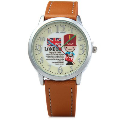 Гаджет   Novel Women Quartz Watch London Soldiers Style Analog Round Dial Leather Watch Band with Key Ring Women