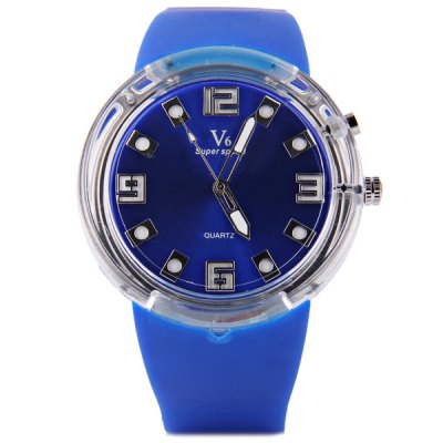 Гаджет   V6 V0251 Round Dial Male Quartz Watch Rubber Band with Colorful Lights for Men Men