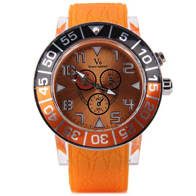 V6 V0239 Colorful Flashing Male Quartz Watch with Rubber Strap Round Dial Decorative Sub  -  dialsMens Watches<br>V6 V0239 Colorful Flashing Male Quartz Watch with Rubber Strap Round Dial Decorative Sub  -  dials<br><br>Brand: V6<br>Watches categories: Male table<br>Watch style: Fashion<br>Style elements: Stainless steel<br>Available color: Blue, Orange, Yellow, Red, Black<br>Movement type: Quartz watch<br>Shape of the dial: Round<br>Display type: Analog<br>Case material: Alloy<br>Band material: Rubber<br>Clasp type: Pin buckle<br>Special features: Decorating small sub-dials<br>The dial thickness: 1.3 cm / 0.5 inches<br>The dial diameter: 5.5 cm / 2.2 inches<br>The band width: 2.5 cm / 1.0 inches<br>Product weight: 0.084 kg<br>Package weight: 0.124 kg<br>Product size (L x W x H): 26.0 x 5.5 x 1.3 cm / 10.22 x 2.16 x 0.51 inches<br>Package size (L x W x H): 27.0 x 6.5 x 2.5 cm / 10.61 x 2.55 x 0.98 inches<br>Package Contents: 1 x Watch