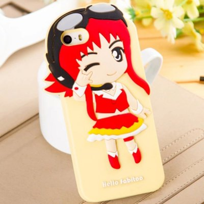Гаджет   Fabitoo Pilot Girl Pattern Silicone Back Cover Case for iPhone 5 5S iPhone Cases/Covers