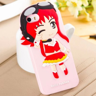 Гаджет   Fabitoo Pilot Girl Pattern Silicone Back Cover Case for iPhone 5 5S