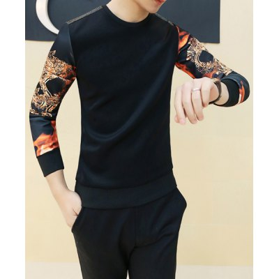ФОТО Stylish Round Neck Slimming Color Block Print Splicing Long Sleeve Cotton Blend T-Shirt For Men