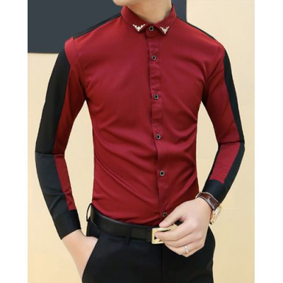 ФОТО Trendy Metal Embellished Turn-down Collar Slimming Color Splicing Long Sleeves Men