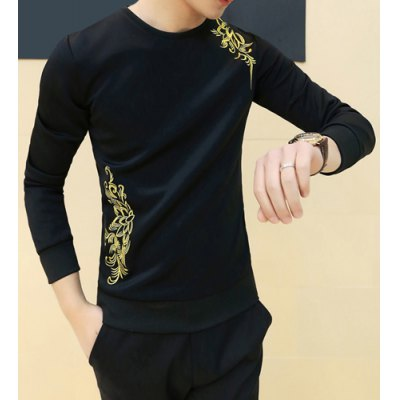 Гаджет   Laconic Round Neck Fashion Embroidery Slimming Solid Color Long Sleeves Men
