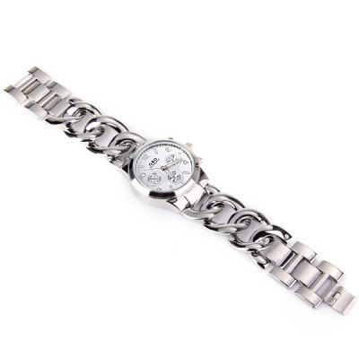ФОТО Round Dial Quartz Watch Stainless Steel Band Three Butttons for Male