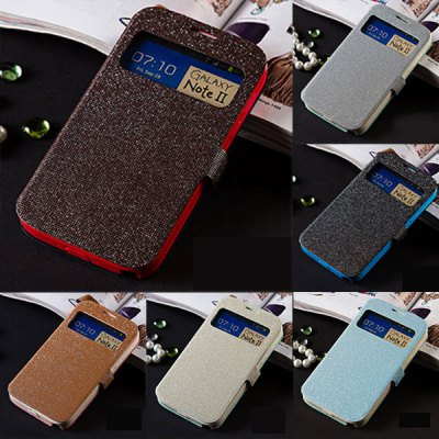 ФОТО Fabitoo Glitter Phone Cover PU + TPU Case with Stand Function Window for Samsung Note 2 N7100
