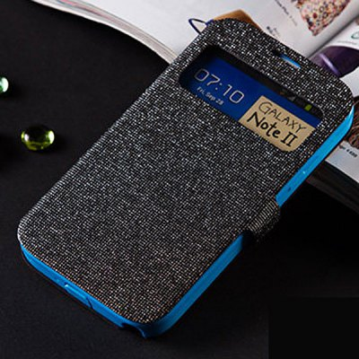 Fabitoo Glitter Phone Cover PU + TPU Case with Stand Function Window for Samsung Note 2 N7100