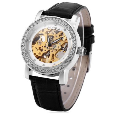 Гаджет   Monica M6858B Rhinestone Tourbillon Automatic Mechanical Watch Leather Band for Unisex Unisex Watches