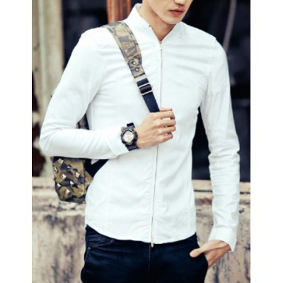 Slimming Stand Collar Personality Zipper Fly Solid Color Long Sleeves Mens Cotton Blend CoatMens Jakets &amp; Coats<br>Slimming Stand Collar Personality Zipper Fly Solid Color Long Sleeves Mens Cotton Blend Coat<br><br>Clothes Type: Jackets<br>Material: Cotton, Polyester<br>Collar: Mandarin Collar<br>Clothing Length: Regular<br>Style: Casual<br>Weight: 0.440KG<br>Sleeve Length: Long Sleeves<br>Season: Spring<br>Package Contents: 1 x Coat