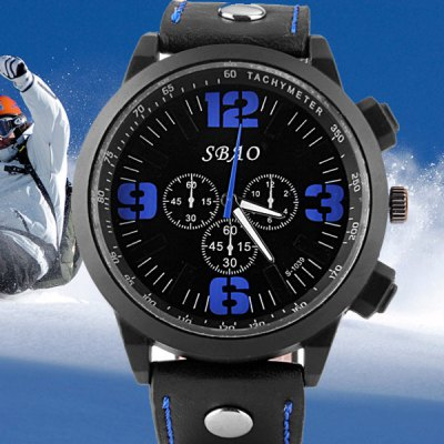 S - 1039 Decorative Sub - dial Sports Watch with Large Dial Bright Color Leather Band