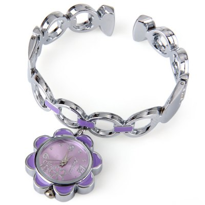 Xinhua AB - 704 Female Quartz Watch Bracelet Flower Shape Dial Steel Strap