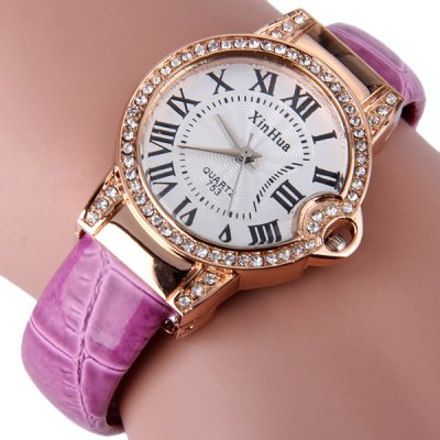 Xinhua 753 Female Quartz Watch Bracelet Diamond Leather + Steel Strap