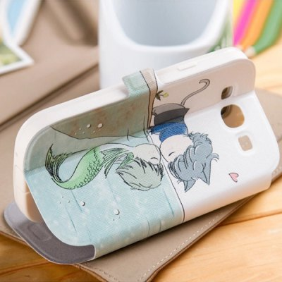 ФОТО Fabitoo Cartoon Painting Phone Cover PU Case with Stand Function for Samsung S3 i9300