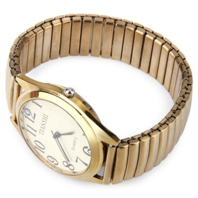 Male Quartz Watch with Round Dial Elastic Alloy Watchband