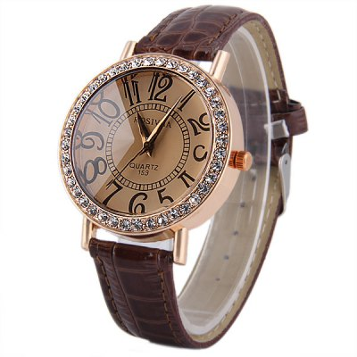 Rosivga 153 Women Quartz Watch with Diamond Round Dial Leather StrapWomens Watches<br>Rosivga 153 Women Quartz Watch with Diamond Round Dial Leather Strap<br><br>Brand: Rosivga<br>Watches categories: Female table<br>Available color: Brown, Black, White, Red<br>Style : Fashion&amp;Casual<br>Movement type: Quartz watch<br>Shape of the dial: Round<br>Display type: Analog<br>Case material: Alloy<br>Band material: Leather<br>Clasp type: Pin buckle<br>The dial thickness: 0.8 cm / 0.31 inches<br>The dial diameter: 3.9 cm / 1.53 inches<br>The band width: 1.6 cm / 0.63 inches<br>Product weight: 0.035 kg<br>Package weight: 0.085 kg<br>Product size (L x W x H) : 24 x 3.9 x 0.8 cm / 9.43 x 1.53 x 0.31 inches<br>Package size (L x W x H): 25 x 4.9 x 1.8 cm / 9.83 x 1.93 x 0.71 inches<br>Package contents: 1 x Rosivga 153 Watch