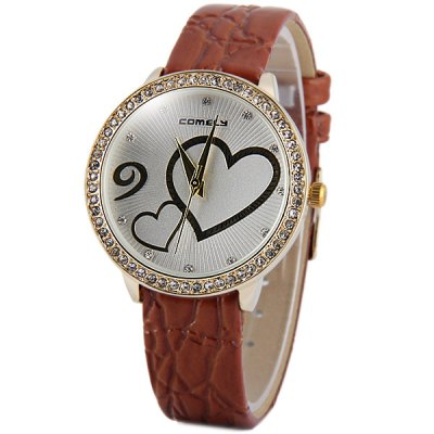 ФОТО Comely 1608 Female Diamond Quartz Watch with Heart - shaped Pattern Leather Band