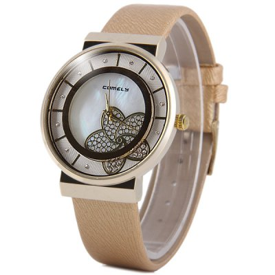 ФОТО Comely 1330 Female Diamond Quartz Watch with Flower Round Dial Leather Band