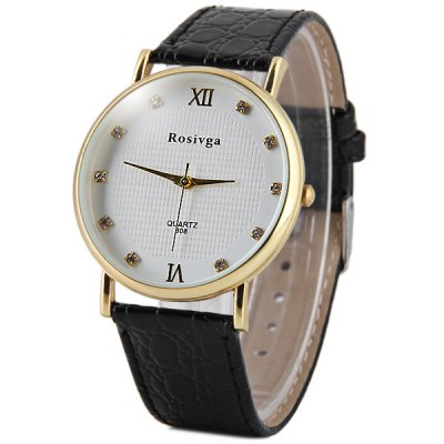 Rosivga 808 Men Quartz Watch Diamond Dots Leather Strap Round DialMens Watches<br>Rosivga 808 Men Quartz Watch Diamond Dots Leather Strap Round Dial<br><br>Brand: Rosivga<br>Watches categories: Male table<br>Watch style: Business<br>Available color: Black, White, Champagne<br>Movement type: Quartz watch<br>Shape of the dial: Round<br>Display type: Analog<br>Case material: Stainless steel<br>Band material: Leather<br>Clasp type: Pin buckle<br>The dial thickness: 1.0 cm / 0.39 inches<br>The dial diameter: 3.8 cm / 1.49 inches<br>The band width: 1.9 cm / 0.75 inches<br>Product weight: 0.027 kg<br>Package weight: 0.077 kg<br>Product size (L x W x H): 24 x 3.8 x 1.0 cm / 9.43 x 1.49 x 0.39 inches<br>Package size (L x W x H): 25 x 4.8 x 2.0 cm / 9.83 x 1.89 x 0.79 inches<br>Package Contents: 1 x Rosivga 808 Watch