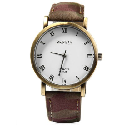 WoMaGe 1128 Water Resistant Men Quartz Watch Analog Round Dial Leather Strap