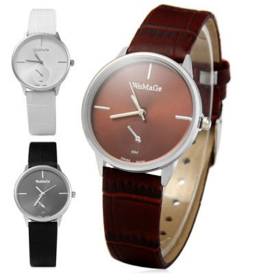 Фотография WoMaGe 654 Men Quartz Watch Analog Round Dial Leather Strap with Decorative Sub - dials