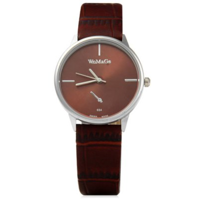 WoMaGe 654 Men Quartz Watch Analog Round Dial Leather Strap with Decorative Sub - dials