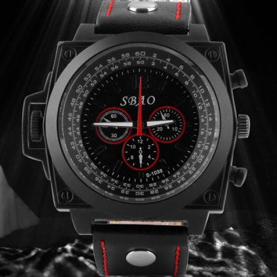 Гаджет   S - 1038 Large Dial Sports Watch with Military Style Decorative Small Sub - dial Leather Band Men