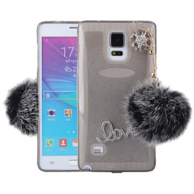 Pompon Pendant Design Transparent TPU Material Back Case for Samsung Galaxy Note 4 N9100