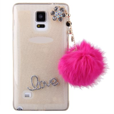 ФОТО Pompon Pendant Design Transparent TPU Material Back Case for Samsung Galaxy Note 4 N9100