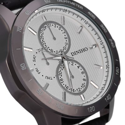 Фотография Diniho 8012G Non - functioning Sub - dials Male Quartz Watch Round Dial Leather Band