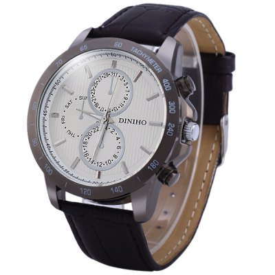 Diniho 8012G Non - functioning Sub - dials Male Quartz Watch Round Dial Leather Band
