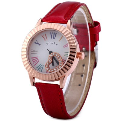 Miler A1009 Female Quartz Watch Fashion Round Dial Leather WatchbandWomens Watches<br>Miler A1009 Female Quartz Watch Fashion Round Dial Leather Watchband<br><br>Brand: Miler<br>Watches categories: Female table<br>Available color: Black, Red, Purple, Brown<br>Style : Fashion&amp;Casual<br>Movement type: Quartz watch<br>Shape of the dial: Round<br>Display type: Analog<br>Case material: Alloy<br>Band material: Leather<br>Clasp type: Pin buckle<br>The dial thickness: 1.0 cm / 0.39 inches<br>The dial diameter: 3.5 cm / 1.38 inches<br>The band width: 1.4 cm / 0.55 inches<br>Product weight: 0.033 kg<br>Package weight: 0.083 kg<br>Product size (L x W x H) : 23.5 x 3.5 x 1.0 cm / 9.24 x 1.38 x 0.39 inches<br>Package size (L x W x H): 24.5 x 4.5 x 2 cm / 9.63 x 1.77 x 0.79 inches<br>Package contents: 1 x Miler A1009 Watch