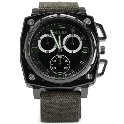 Фотография Miler A8266 Fashion Dial Quartz Watch with Canvas Strap for Men