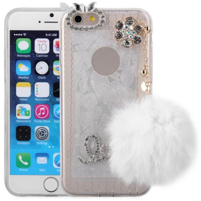 ФОТО Pompon Pendant Design Transparent TPU Material Back Case for iPhone 6  -  4.7 inches