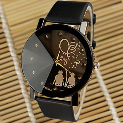 Yazole 197 Cartoon Couple Pattern Men Boys Analog Quartz Watch