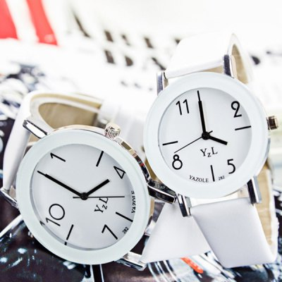 Гаджет   Yazole 282 Contracted Quartz Watch Analog Watches Leather Strap for Couple Couple