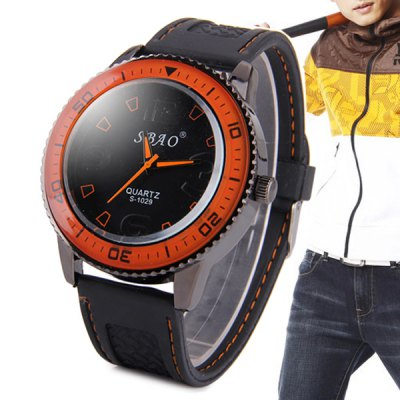S - 1029 Large Dial Sports Watch with Rubber Band