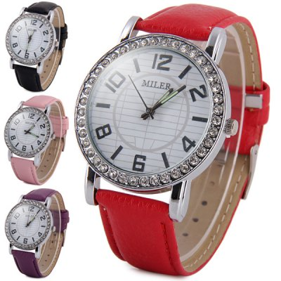 Miler A1026 Women Quartz Watch with Diamond Round Dial Leather StrapWomens Watches<br>Miler A1026 Women Quartz Watch with Diamond Round Dial Leather Strap<br><br>Brand: Miler<br>Watches categories: Female table<br>Available color: Black, Red, Pink, Purple<br>Style : Fashion&amp;Casual, Diamond<br>Movement type: Quartz watch<br>Shape of the dial: Round<br>Display type: Analog<br>Case material: Alloy<br>Band material: Leather<br>Clasp type: Pin buckle<br>The dial thickness: 0.7 cm / 0.28 inches<br>The dial diameter: 4.0 cm / 1.57 inches<br>The band width: 1.9 cm / 0.75 inches<br>Product weight: 0.036 kg<br>Package weight: 0.086 kg<br>Product size (L x W x H) : 24.5 x 4.0 x 0.7 cm / 9.63 x 1.57 x 0.28 inches<br>Package size (L x W x H): 25.5 x 5 x 1.7 cm / 10.02 x 1.97 x 0.67 inches<br>Package contents: 1 x Miler A1026 Watch