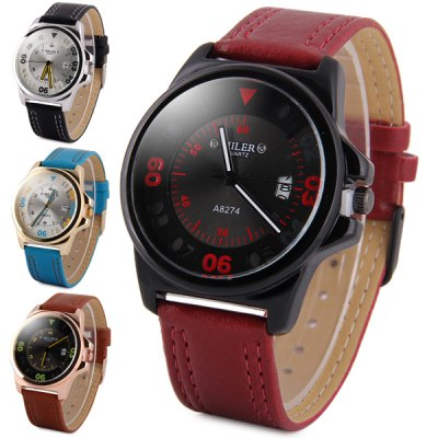 Гаджет   Miler A8274 Male Quartz Watch Date Display with Leather Band Round Dial Men