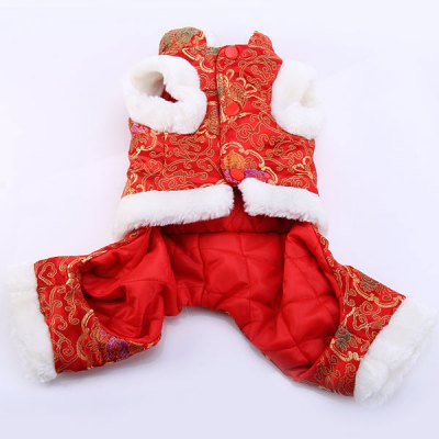 Гаджет   Festival Pet Clothes Tang Suit with 4 - Leg Holes for Doggy