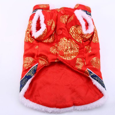 Festival Pet Clothes Chinese New Year Tang Suit Holes for Doggy