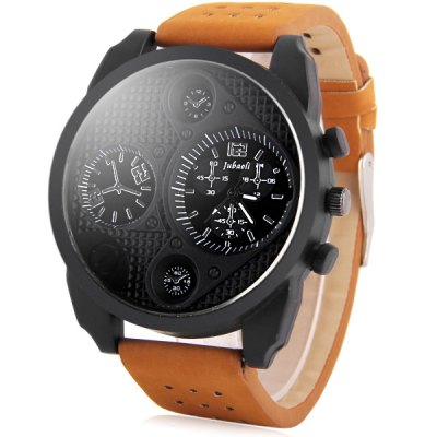 Jubaoli Male Fashion Dial Quartz Watch Decorative Sub - dials PU WristbandSports Watches<br>Jubaoli Male Fashion Dial Quartz Watch Decorative Sub - dials PU Wristband<br><br>Watches categories: Male table<br>Watch style: Trends in outdoor sports<br>Style elements: Stainless steel<br>Available color: White, Black<br>Movement type: Quartz watch<br>Shape of the dial: Round<br>Display type: Analog<br>Case material: Stainless steel<br>Case color: Black<br>Band material: PU<br>Clasp type: Pin buckle<br>Band color: Brown<br>Special features: Decorating small sub-dials<br>The dial thickness: 1.2 cm / 0.47 inches<br>The dial diameter: 4.9 cm / 1.93 inches<br>The band width: 2.2 cm / 0.87 inches<br>Product weight: 0.076 kg<br>Package weight: 0.126 kg<br>Product size (L x W x H): 26.8 x 4.9 x 1.2 cm / 10.53 x 1.93 x 0.47 inches<br>Package size (L x W x H): 27.8 x 5.9 x 2.2 cm / 10.93 x 2.32 x 0.86 inches<br>Package Contents: 1 x Jubaoli Watch