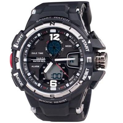 Купить Sports Watches   SanDa 289 Military Dual - movt Watch Water Resistant Muliti - function LED Watches for Outdoor Sports