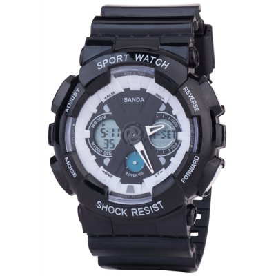SanDa 226 LED Military Watch Dual Movt Water Resistant Muliti - function for Outdoor Sports