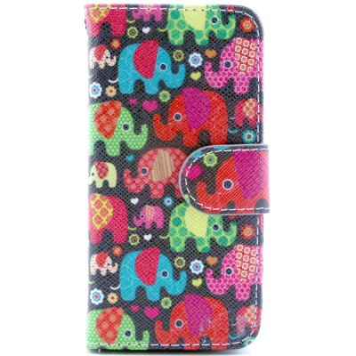 ФОТО Elephant Pattern Cover PU + TPU Case Protector with Stand Function Card Holder for iPhone 4 4S